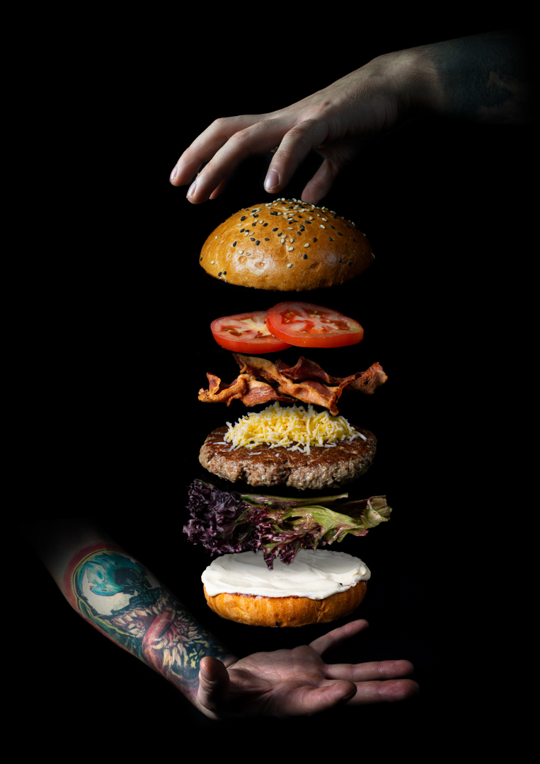Grafika - rozložený burger - Sky Peak